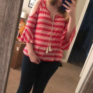 Pink Striped Cold-Shoulder Summer Shirt